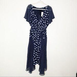 Lane Bryant Black Floral Chiffon Midi Dress